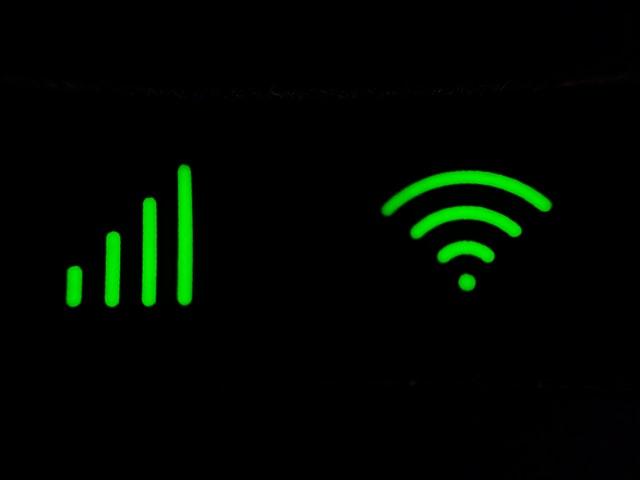 WiFiマークと電波マーク